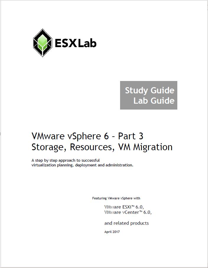 VMware vSphere 6 Part 3 - Storage, Resources and Virtual Machine Migration